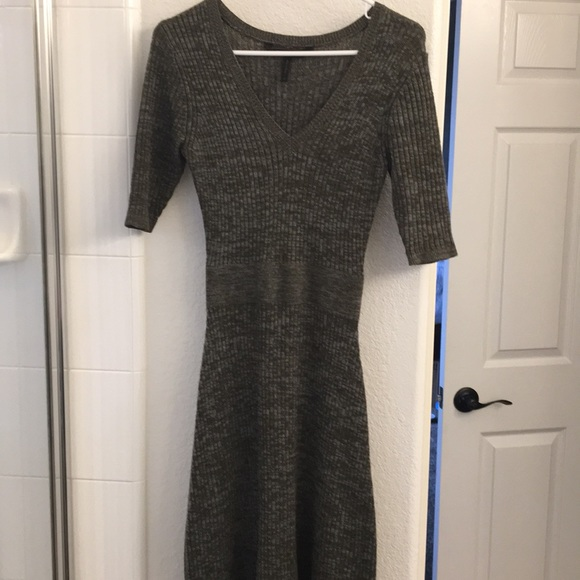 BCBGMaxAzria Dresses & Skirts - Army green and gray tone sweater dress